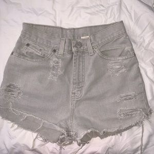 Pants - Light Grey Wash Distressed Shorts